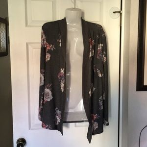 New! Grey Floral open cardigan